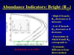 abundance indicators bright r 23