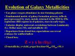 evolution of galaxy metallicities