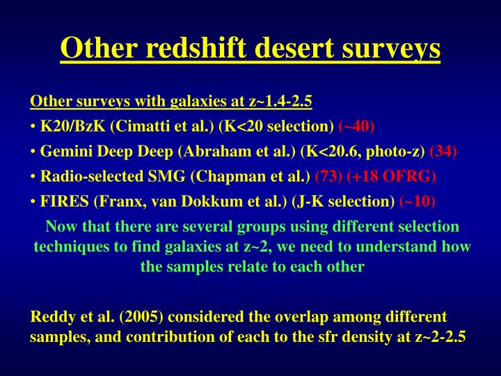 Other redshift desert surveys