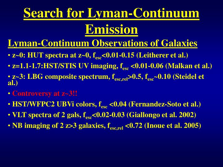 Search for Lyman-Continuum Emission