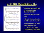 z 3 lbg metallicities r 23
