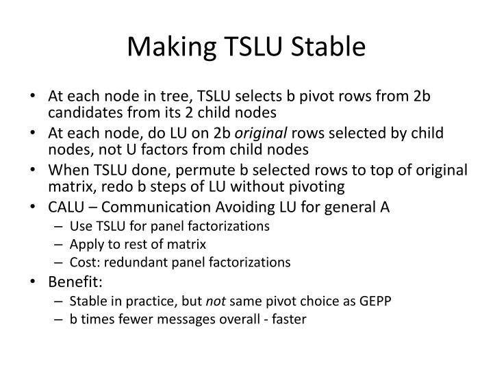 Making TSLU Stable