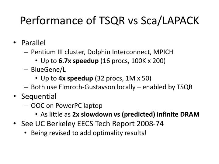 Performance of TSQR