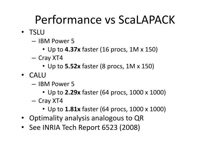 Performance vs ScaLAPACK