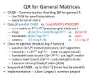 qr for general matrices