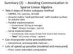 summary 2 avoiding communication in sparse linear algebra