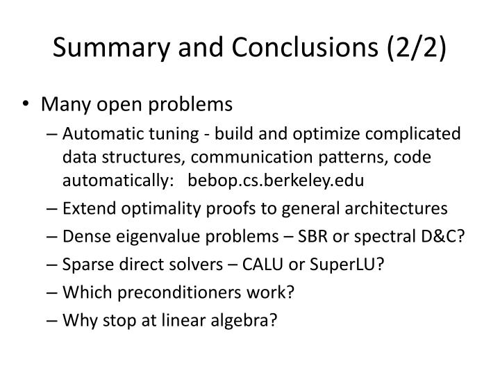Summary and Conclusions (2/2)