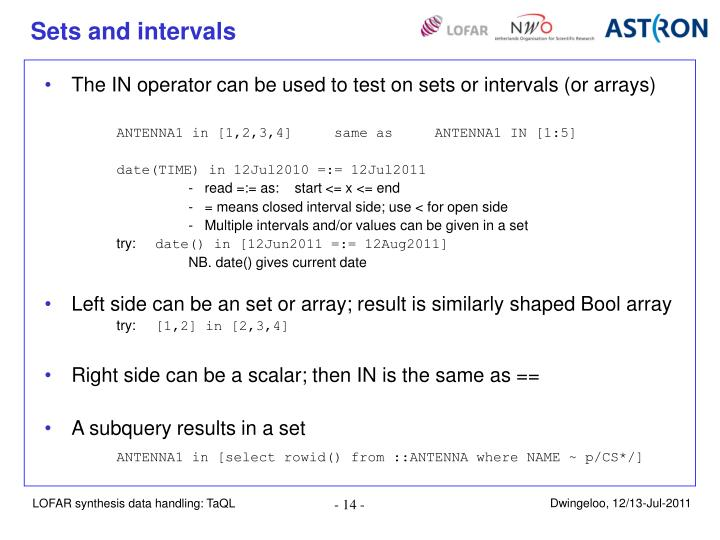 Sets and intervals