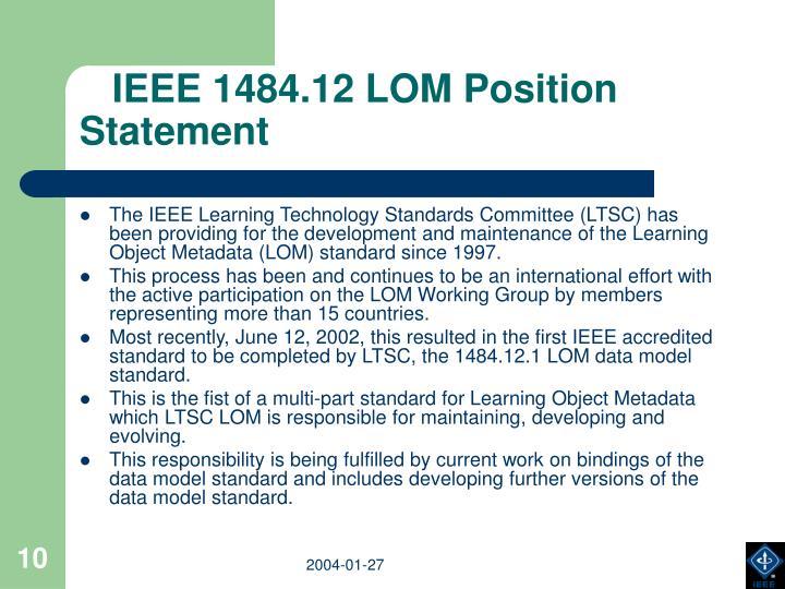 IEEE 1484.12 LOM Position Statement