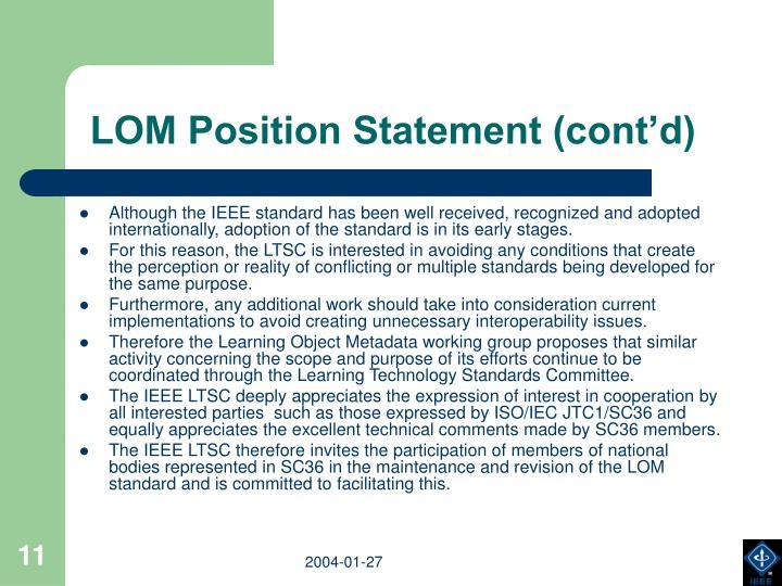 LOM Position Statement (cont'd)