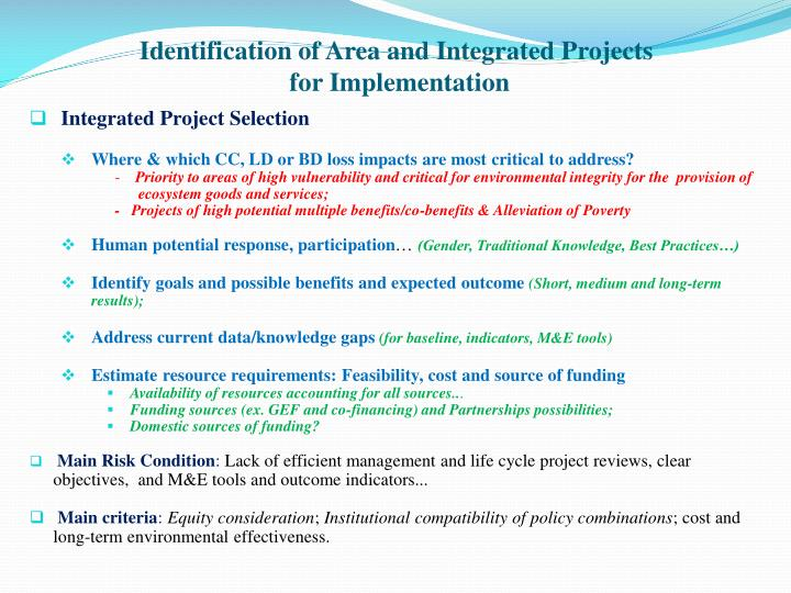 Identification of Area and Integrated Projects