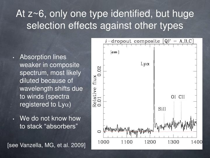 At z~6, only one type identified, but huge selection effects against other types