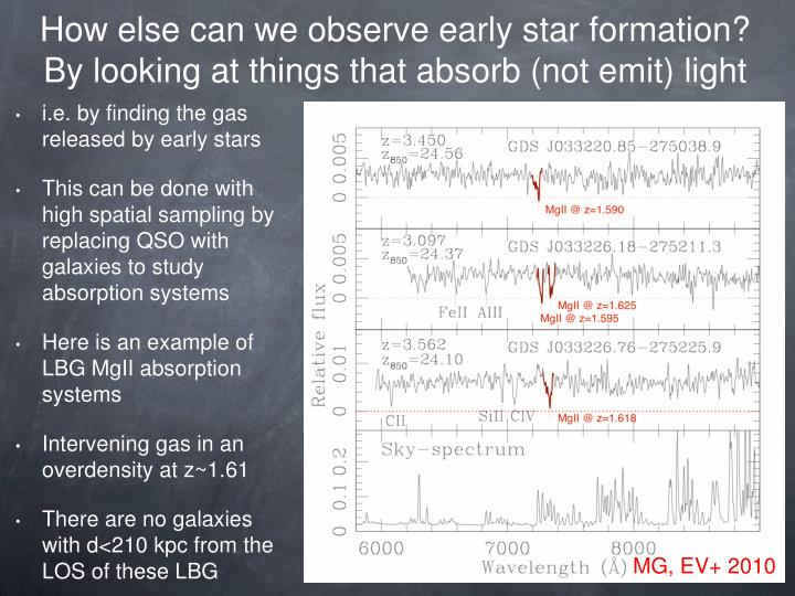 How else can we observe early star formation?