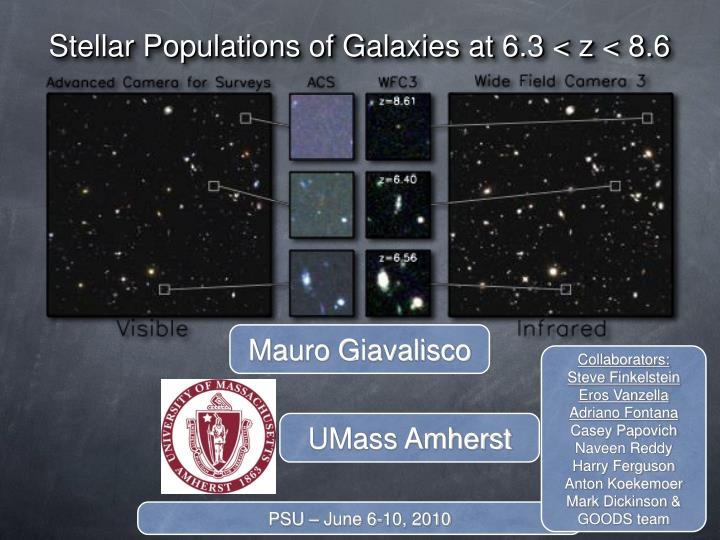 stellar populations of galaxies at 6 3 z 8 6