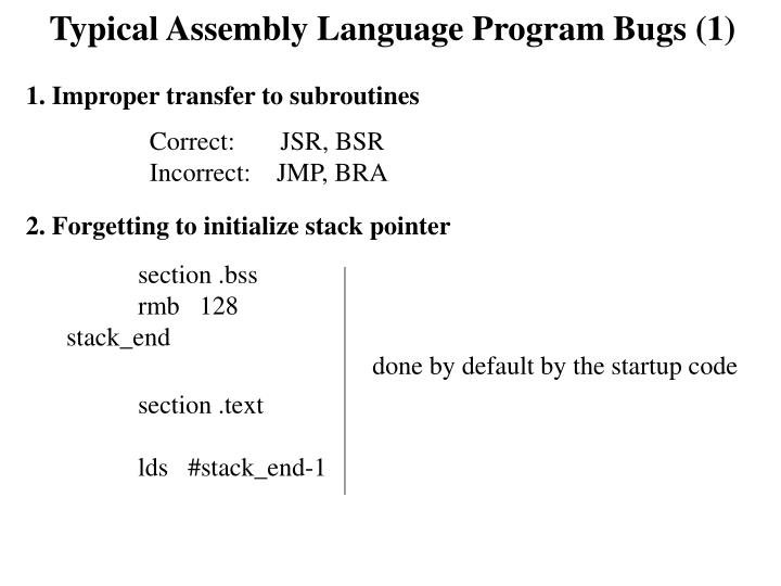 Typical Assembly Language Program Bugs (1)