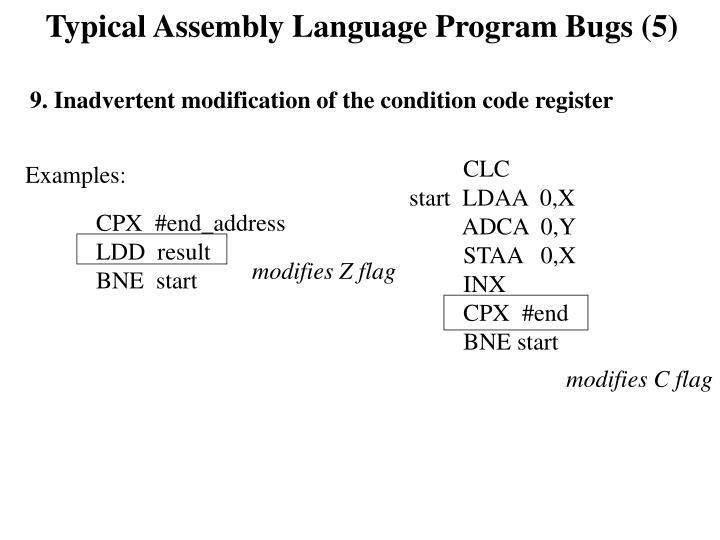 Typical Assembly Language Program Bugs (5)