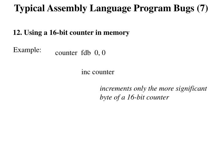 Typical Assembly Language Program Bugs (7)