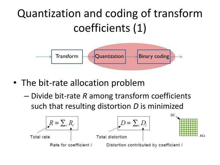Quantization and coding of transform coefficients (1)