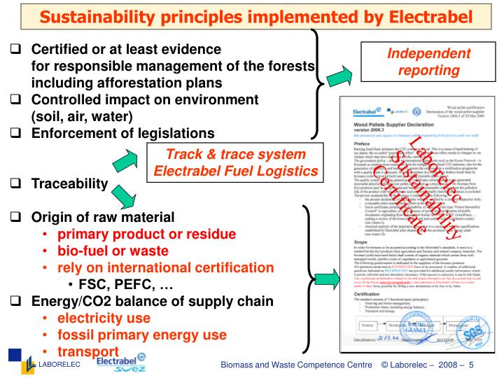 Sustainability principles implemented by Electrabel