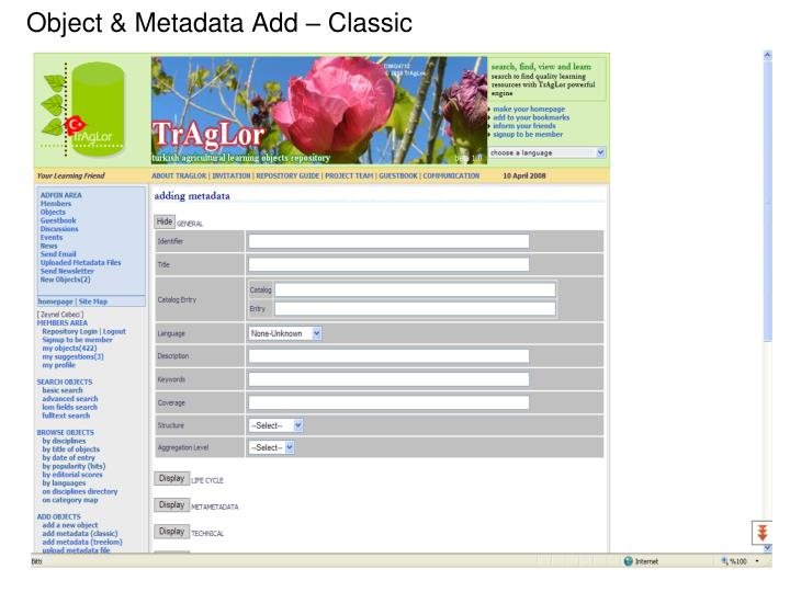 Object & Metadata Add – Classic