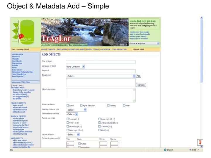 Object & Metadata Add – Simple