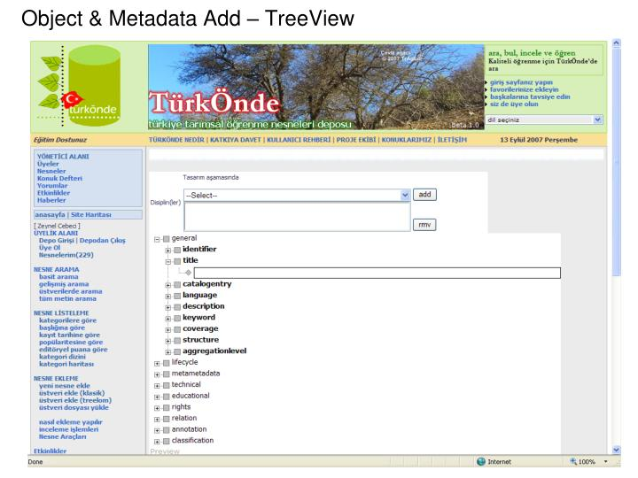 Object & Metadata Add – TreeView