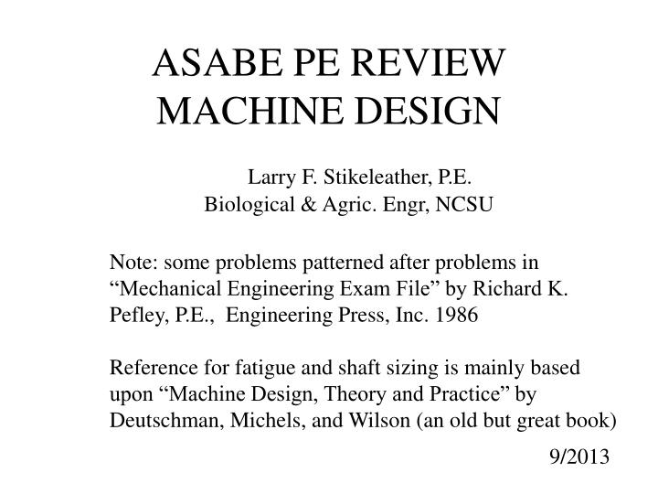 ASABE PE REVIEW