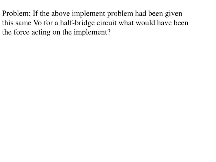 Problem: If the above implement problem had been given