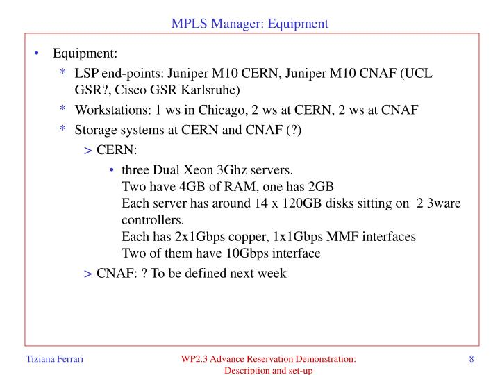 MPLS Manager: Equipment