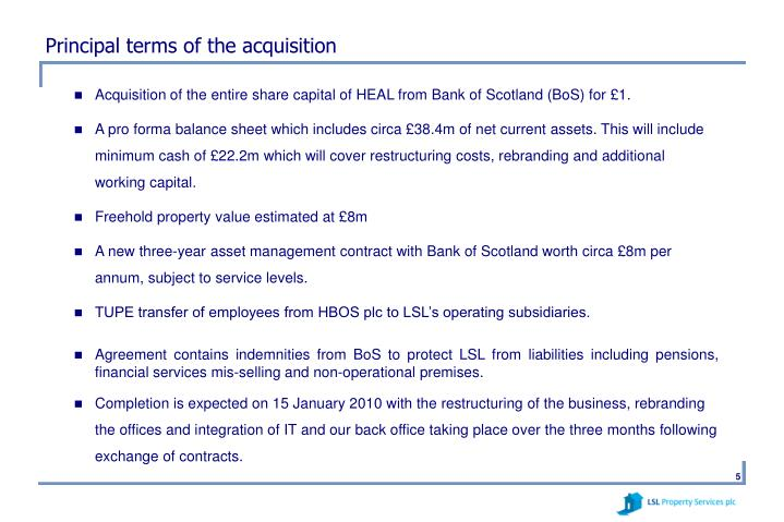 Principal terms of the acquisition