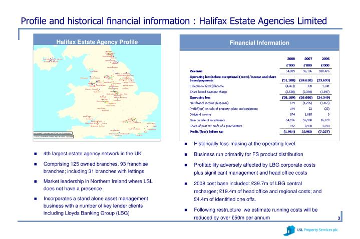 Profile and historical financial information : Halifax Estate Agencies Limited