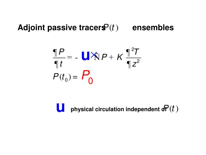 Adjoint passive tracers            ensembles