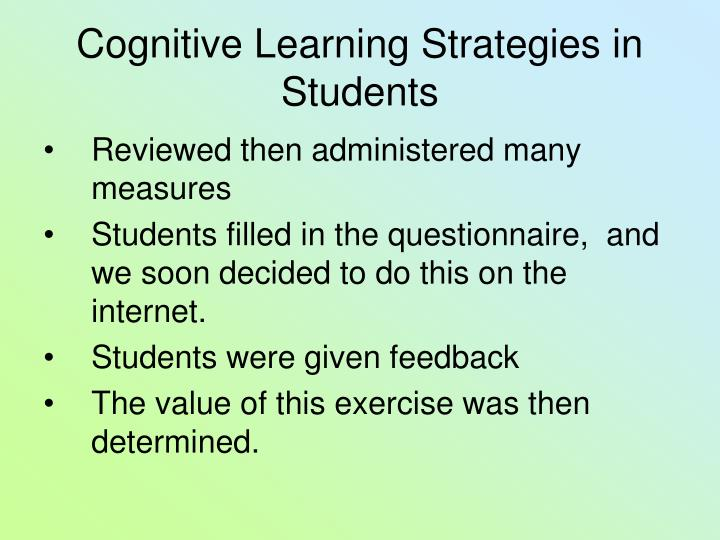 Cognitive learning strategies in students1