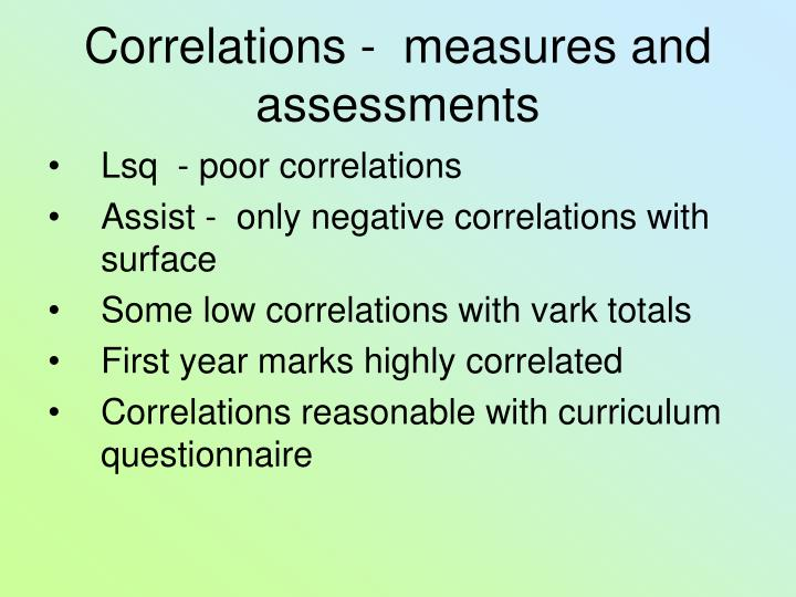Correlations -  measures and assessments