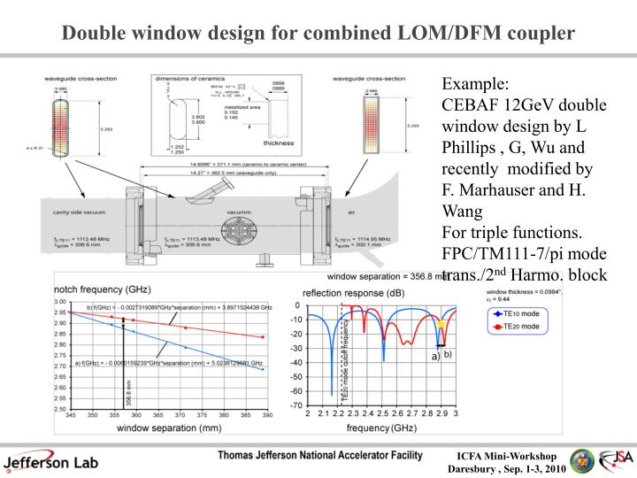 Double window design for combined LOM/DFM coupler