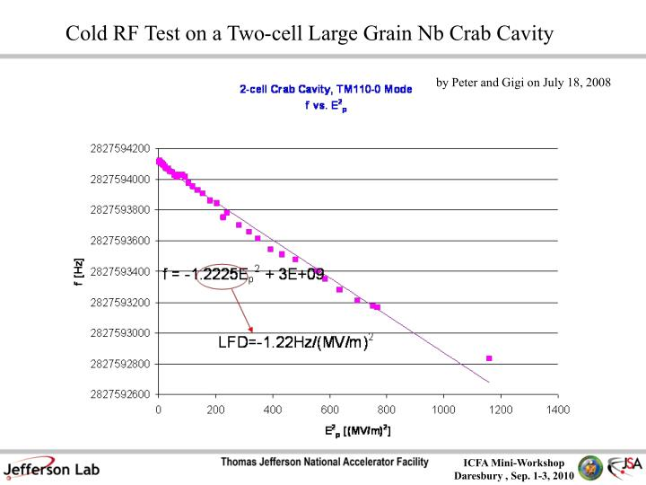 Cold RF Test on a Two-cell Large Grain Nb Crab Cavity