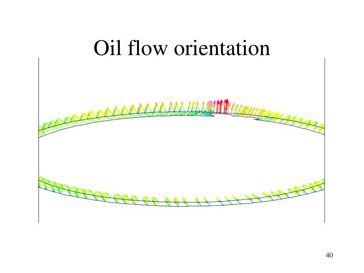 Oil flow orientation