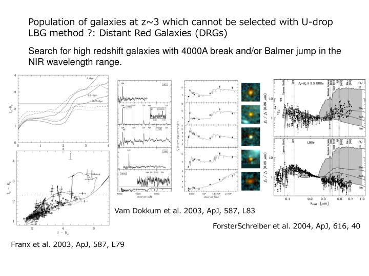 Population of galaxies at z~3 which cannot be selected with U-drop LBG method ?: Distant Red Galaxies (DRGs)