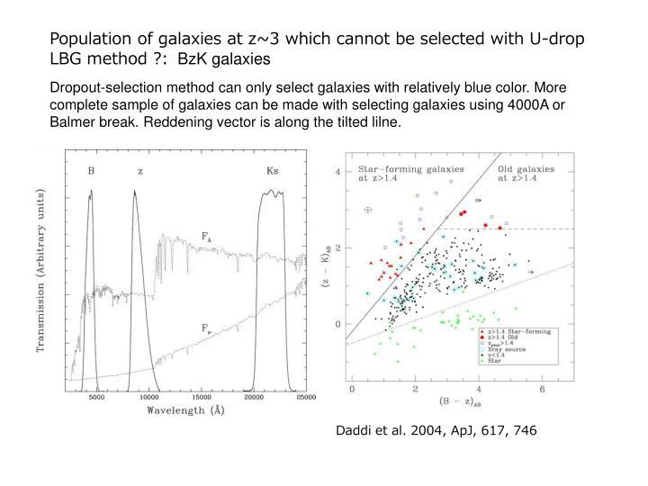 Population of galaxies at z~3 which cannot be selected with U-drop LBG method ?: