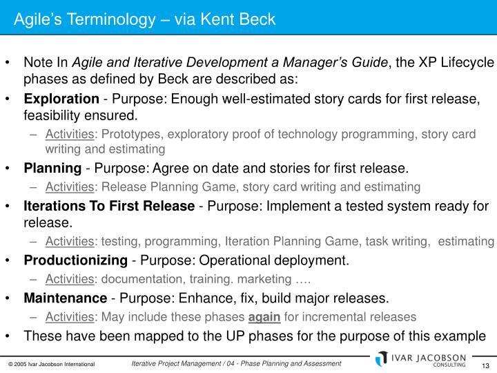 Agile's Terminology – via Kent Beck