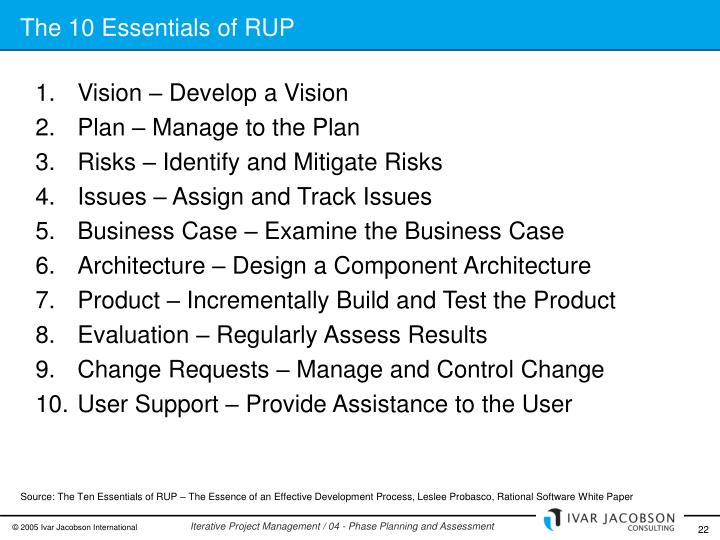 The 10 Essentials of RUP