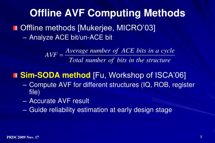 Offline AVF Computing Methods