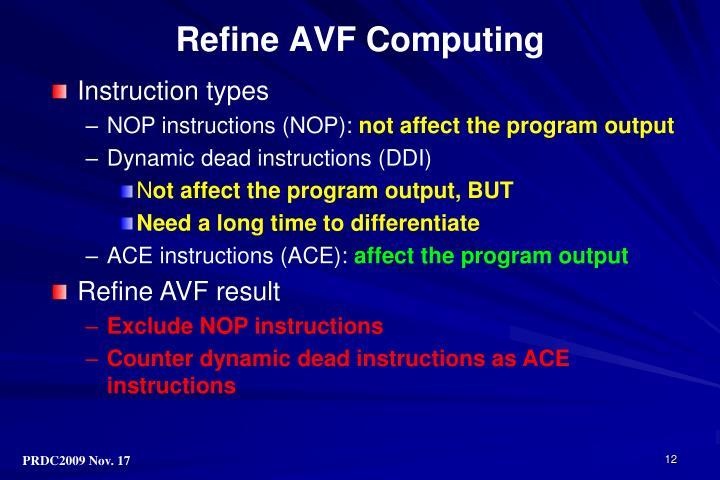 Refine AVF Computing