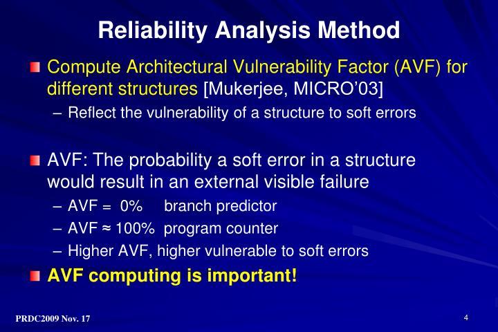 Reliability Analysis Method