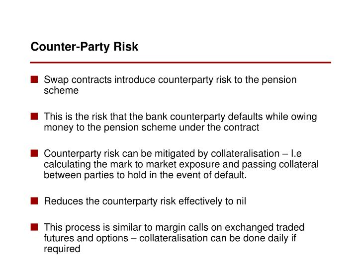 Swap contracts introduce counterparty risk to the pension scheme