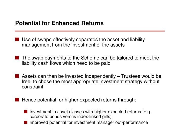 Use of swaps effectively separates the asset and liability management from the investment of the assets