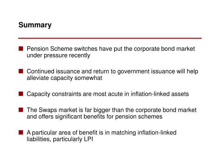 Pension Scheme switches have put the corporate bond market under pressure recently