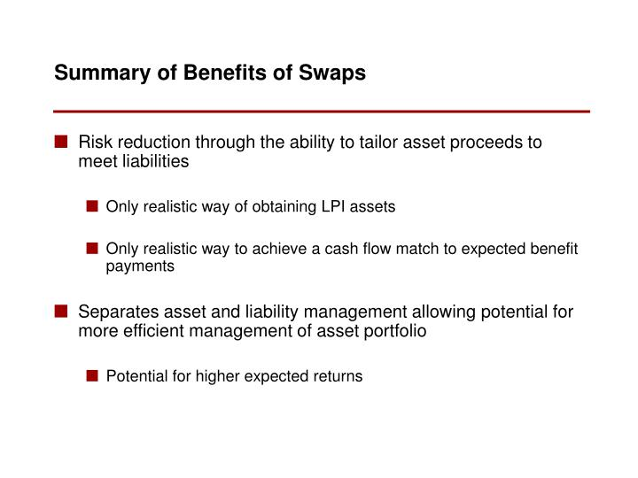 Risk reduction through the ability to tailor asset proceeds to meet liabilities