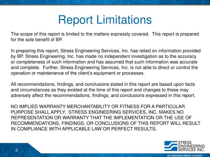 Report Limitations