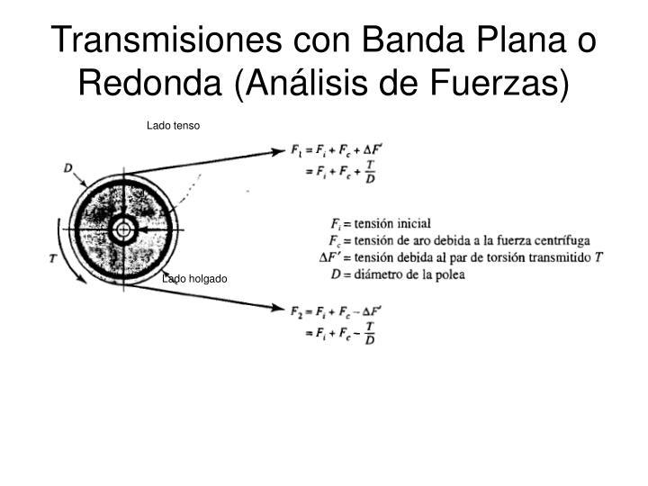 Transmisiones con Banda Plana o Redonda (Análisis de Fuerzas)